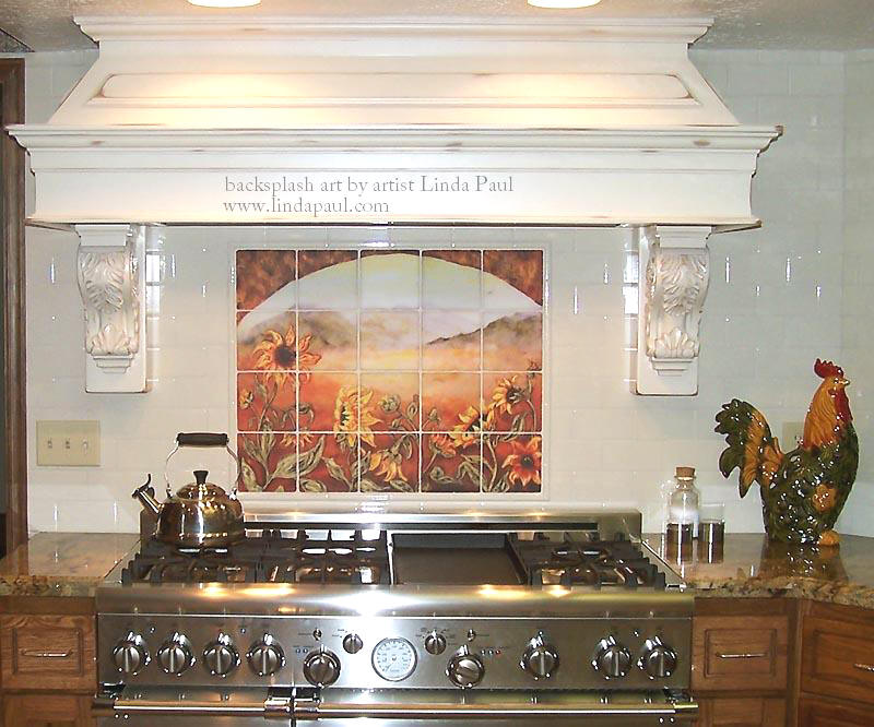 French country sunflower kitchen back splash