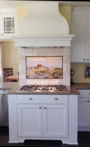 Tuscnay in the Mist tile mural backsplsh with subway tile