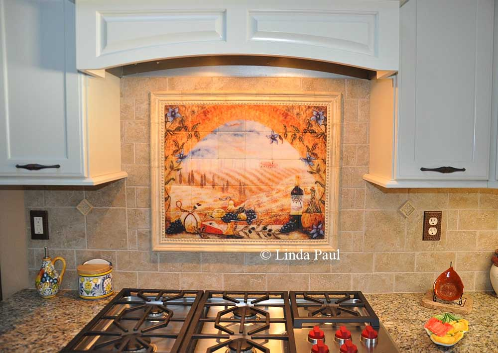 Italian tile murals tuscany backsplash tiles for Backsplash mural tile