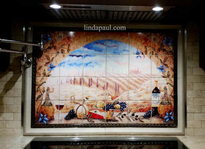 Tuscan mural on porcelain ceramic tile