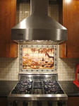 vineyard mural with mosaic tile liner Viking stainless hood