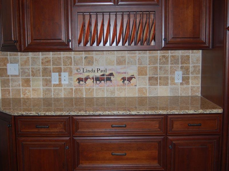 Horse tiles backsplash