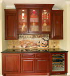 butler's pantry -wine cabinet with custom back splash