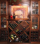 custom built wine cabinet and mural