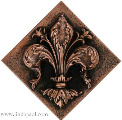 Fleur De Elegance Diagonal Tile Shown In Copper Highlight Polish Size 7 5 X 187 95 Top To Bottom Measures 10