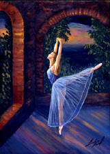 ballet dancer in studio at night
