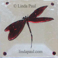 burgundy red dragonfly tile