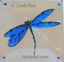 cobalt blue dragonfly tile