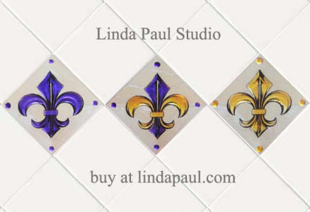 fleur de lis tile in LSU colors