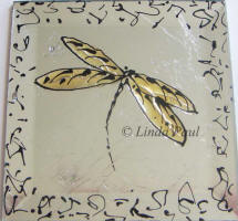 amber gold dragonfly tile