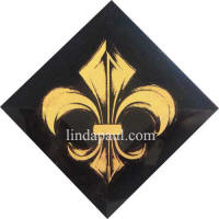 Saints fleur de lis Tile black and gold accent