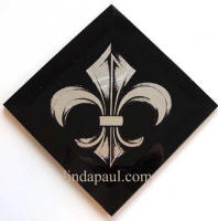 black and silver fleur de lis tile