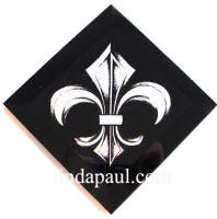black and white fleur de lis tile