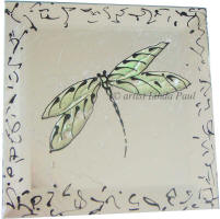 pale green dragonfly tile