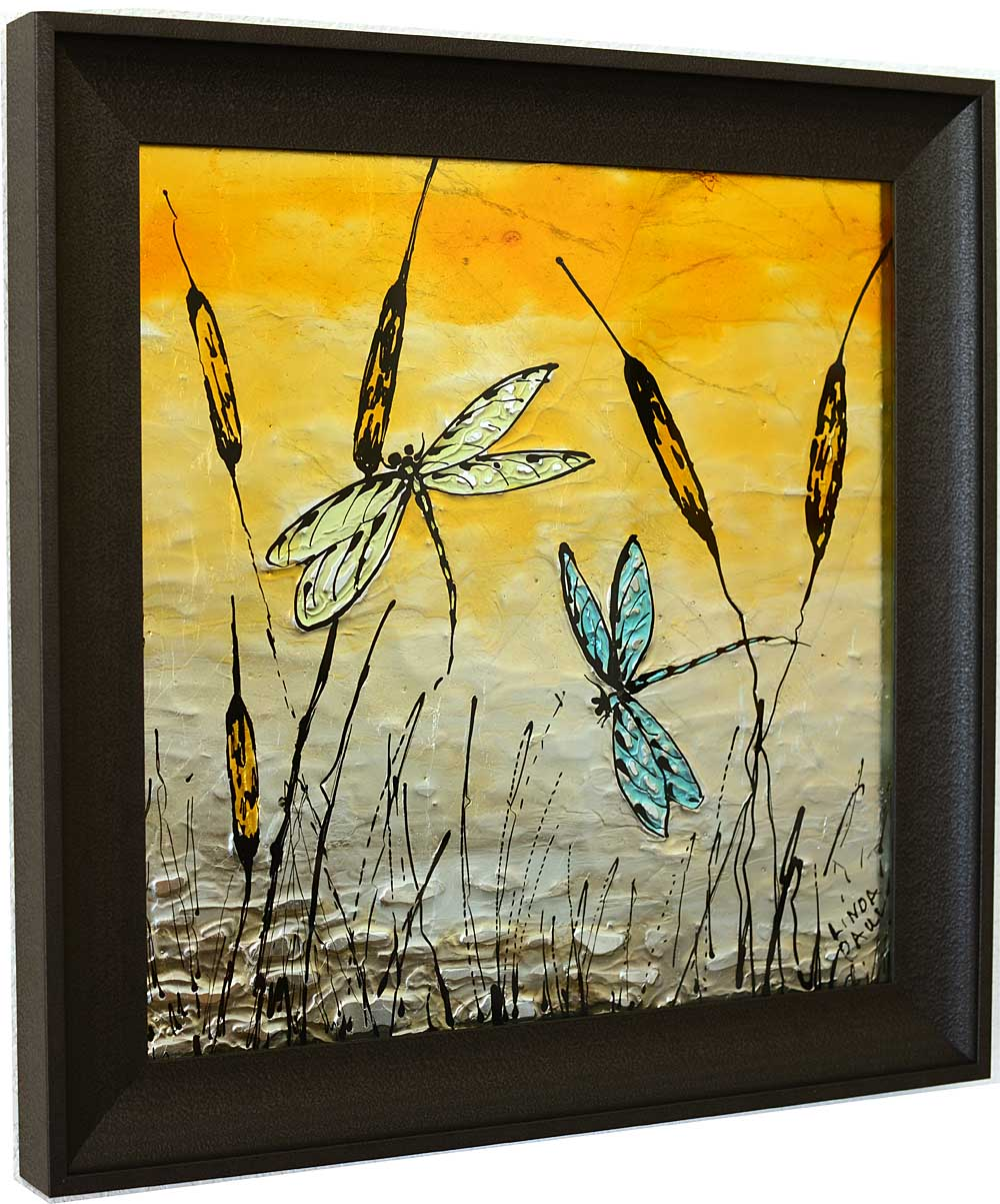 Dragonfly Art Glass Tile - painted pictures of Dragonflies