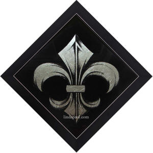 framed black and silver fleur de lis glass tile
