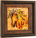 horse painting framed  in bronze copper frame