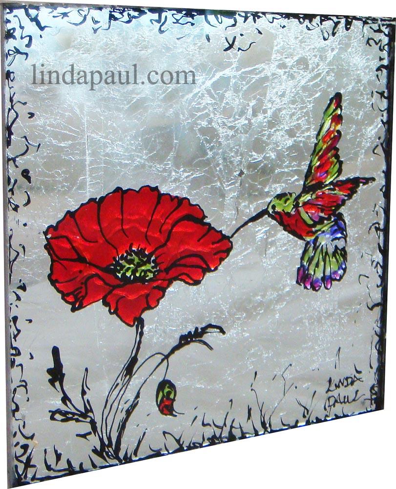 glass backsplash tile mural handpainted art tiles glaa tile art red poppies and hummingbirds