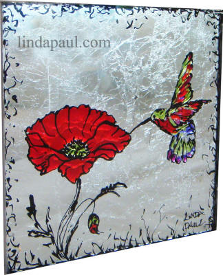 glaa tile art red poppies and hummingbirds