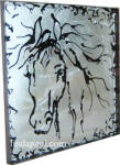 silver and black painted horse art tile