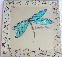 blue dragongly hand-painted tile