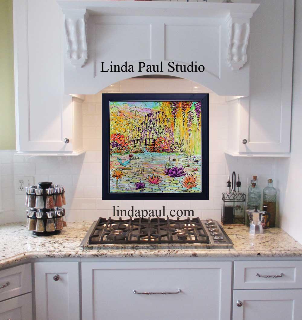 Monet water lily garden tile mural kitchen backsplash monet garden glass art kitchen backsplash dailygadgetfo Choice Image