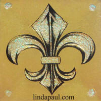 opal and gold fleur de lys tile accent