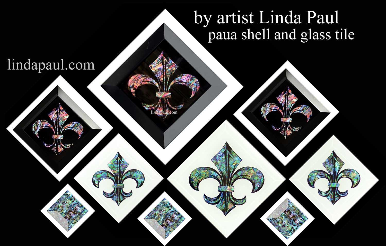 Paua Shell Fleur De Lis Tiles
