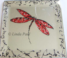 red dragonfly tile art