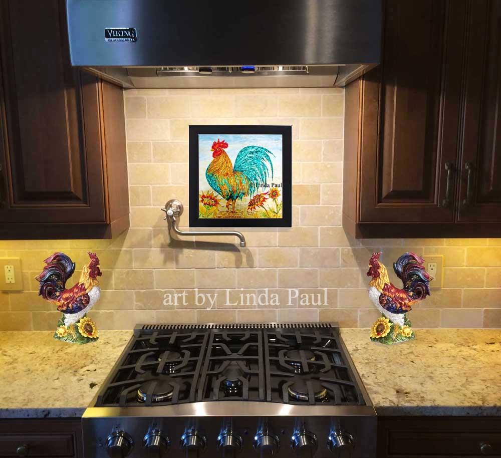 Rooster kitchen decor wall art backsplash painting rooster kitchen backsplash dailygadgetfo Gallery
