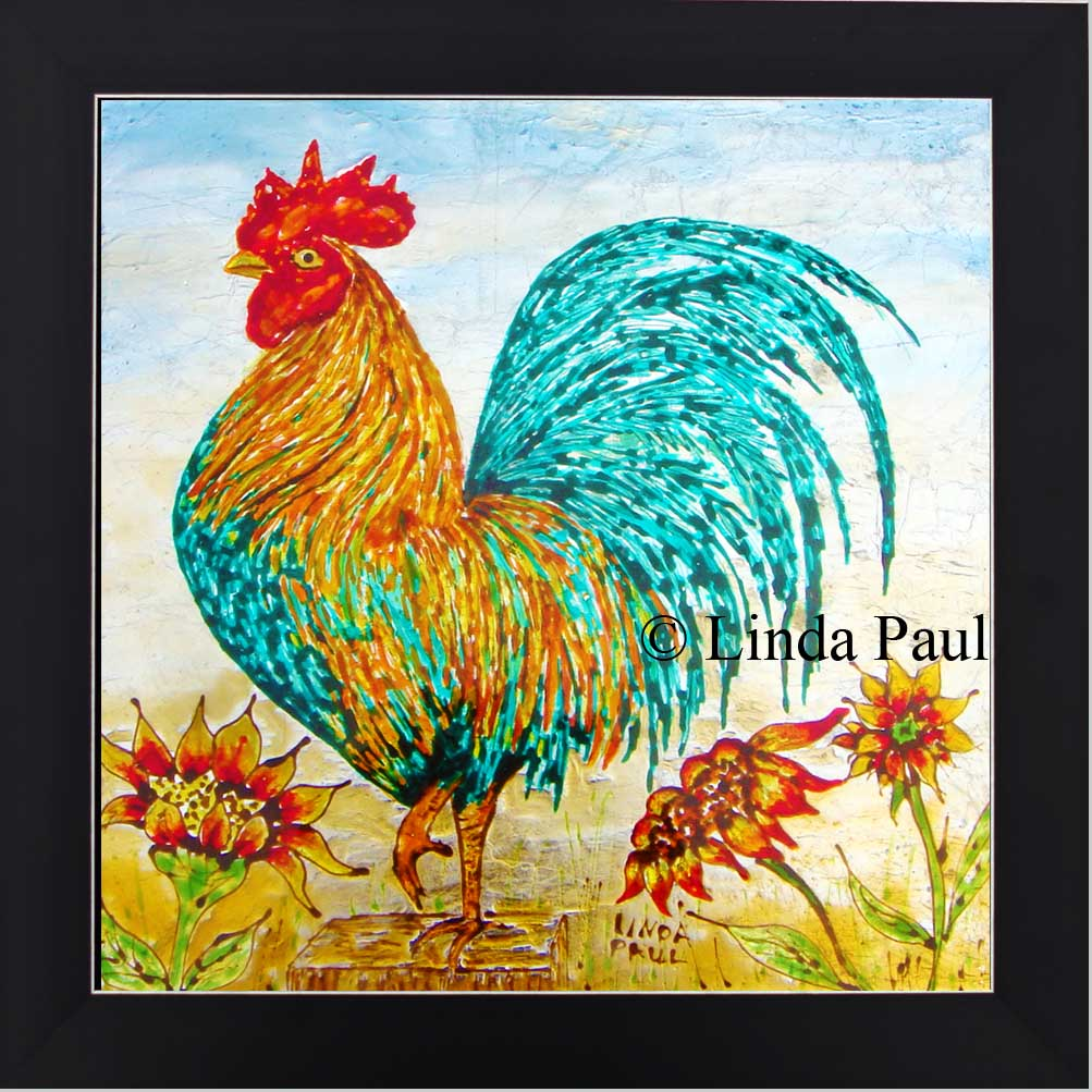 Rooster kitchen decor wall art backsplash painting rooster framed art dailygadgetfo Choice Image