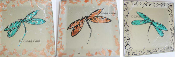 Set of 3 drangonfly tiles on sale