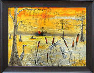 sunrise bayou original framed glass art