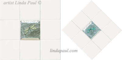 white tile with dragonfly glass accent tile
