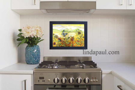 Temporary Backsplash of Sunflowwer in white apartment rental kitchen