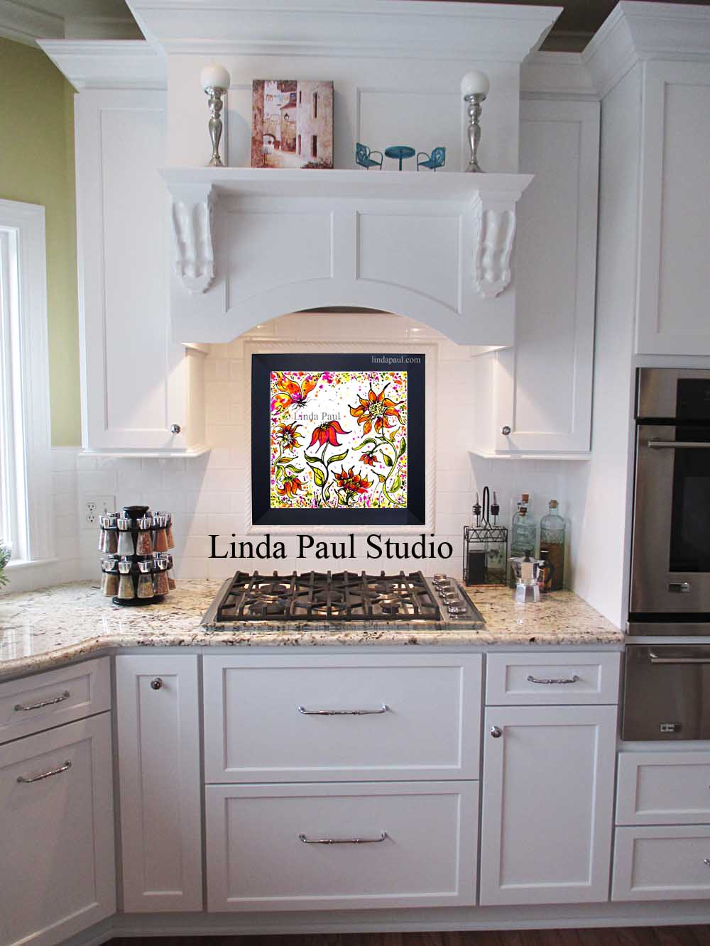 white kitchen with Sunflower Party Glass DIY temporary backsplash by artist Linda Paul 1000