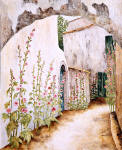 hollyhock wall provence art