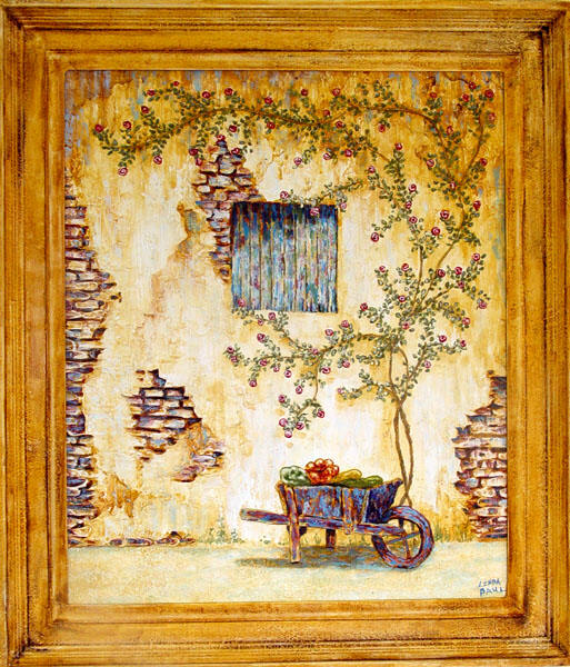 French Country Painting of garden wall, roses and cart