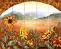 sunflowers western kitchen backsplash tiles