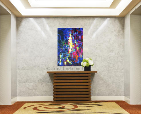 abstract art painting in hotel foyer hall