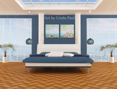 nautical decor of blue and white bedroom beach art