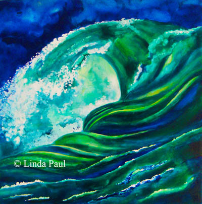 ocean wave egg tempera painting