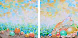 pearls on the beach art on canvas