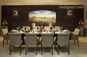 elegant dining room with Fielsd of Tuscany painting