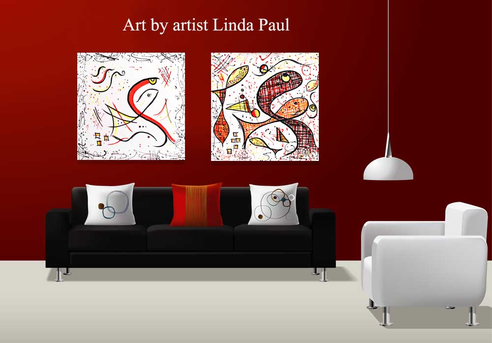 Modern Abstract Fish Paintings Red And Black And White