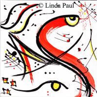 abstract fish - black white red ywllow 10 x 10