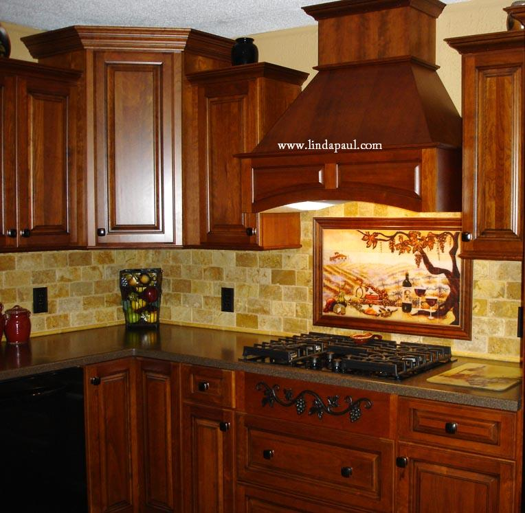 Tile backsplash ideas for cherry wood cabinets home for Kitchen backsplash design gallery