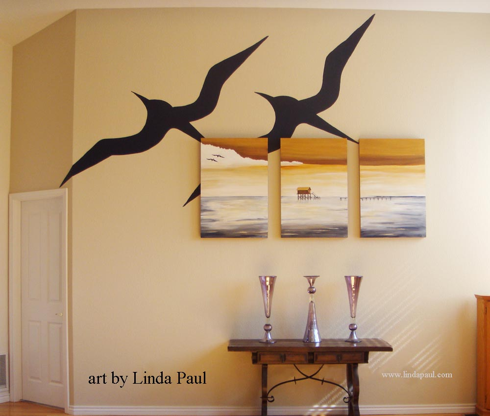 Charming Large Wall Paintings For Living Room Part - 9: Large Canvas Paintings With Wall Mural Graphic Of Birds