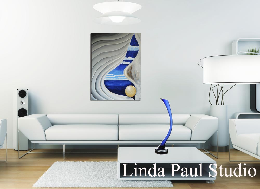 Blue And White Painting In Contemporary Living Room