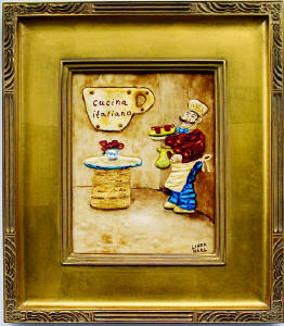 framed fat Italian chef painting